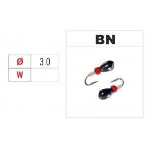 Мормышка КАПЛЯ (диам.: 3.0мм., длина: 4.3мм., вес: 0.46г., крючек #16, с отверстием и бисером, цвет BN, в уп. 1 шт.)