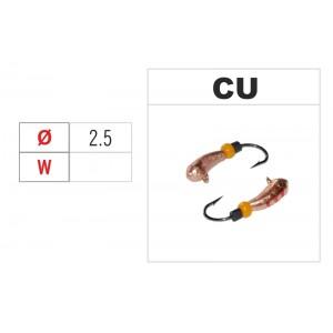 Мормышка УРАЛКА (диам.: 2.5мм., с ушком и бисером, цвет CU, в уп. 1 шт.)