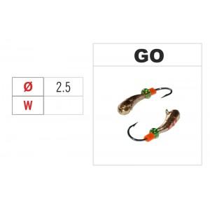 Мормышка УРАЛКА (диам.: 2.5мм., с ушком и бисером, цвет GO, в уп. 1 шт.)