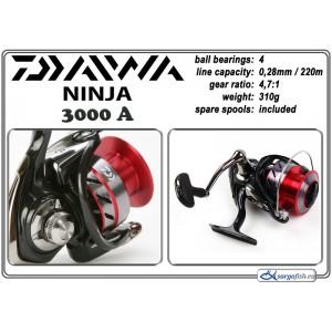 Катушка DAIWA Ninja 3000A (подшип.:4, ёмкость шпули:0.280мм./ 220м., передача:4.7:1, вес:310г.) с запасной шпулей.