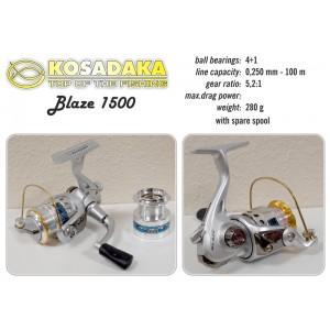 Катушка KOSADAKA Blaze 1500 (подшип.:4, ёмкость шпули:0.250мм./ 100м., передача:5.2:1, вес:280г.) с запасной шпулей.