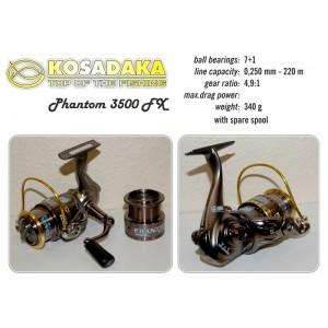 Катушка KOSADAKA Phantom 3500 FX (подшип.:7, ёмкость шпули:0.250мм./ 220м., передача:4.9:1, вес:340г.) с запасной шпулей.