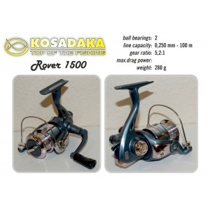 Катушка KOSADAKA Rover 1500 (подшип.:2, ёмкость шпули:0.250мм./ 100м., передача:5.2:1, вес:280г.)