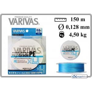 Леска плетеная Varivas High GRADE x4 PE b (#0.6 / 0.128мм. / 150м. тест:4.50 кг.. цвет: синий)