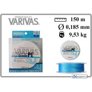 Леска плетеная Varivas High GRADE x4 PE b (#1.2 / 0.185мм. / 150м. тест:9.53 кг.. цвет: синий)