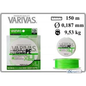 Леска плетеная Varivas High GRADE x4 PE g (#1.2 / 0.187мм. / 150м. тест:9.53 кг.. цвет: зеленый)