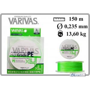 Леска плетеная Varivas High GRADE x4 PE g (#2.0 / 0.235мм. / 150м. тест:13.60 кг.. цвет: зеленый)