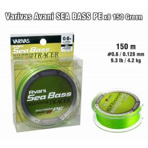 Леска плетеная Varivas Avani SEA Bass x8 PE (#0.6 / 0.128мм. / 150м. тест:6.50 кг.. цвет: зеленый)